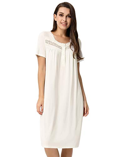 - Zexxxy Women's Nightgown Cotton Lace Trim Short Sleeve Solid Long Sleepwear White S