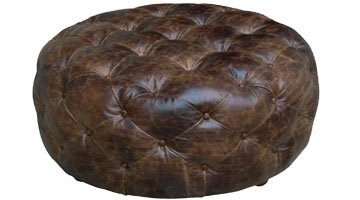 Amazoncom Earle Large Round Tufted Dark Brown Distressed Leather - Distressed leather ottoman coffee table