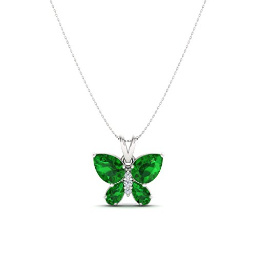 Butterfly Diamond Pendant And Chain - Diamondere Natural and Certified Emerald and Diamond Butterfly Pendant in 14k White Gold | 1.11 Carat SI1-SI2 Quality Necklace with Chain
