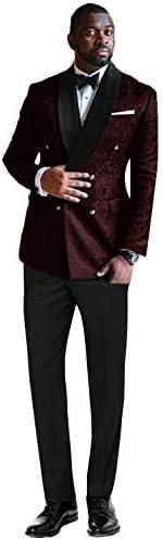 メンズフローラルジャカードスーツダブルブレスト取り外し可能サテンカラースーツセット