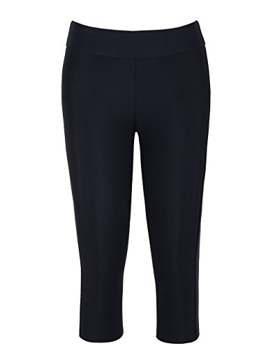 - Hilor Women's UV Rash Guard Pants Crop Swim Leggings Sports Capri Tights 10 Black 1