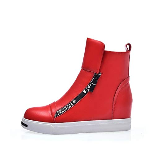 ZHZNVX Damenschuhe Nappaleder Herbst & Winter Komfort Stiefel Stiefel Stiefel Flache Ferse Weiß Rot bfb77a