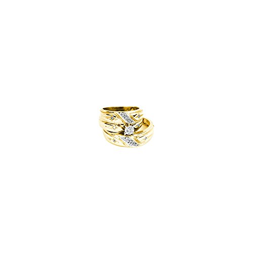 14kt Yellow Gold His & Hers Round Diamond Solitaire Matching Bridal Wedding Ring Band Set 1/6 Cttw by JawaFashion