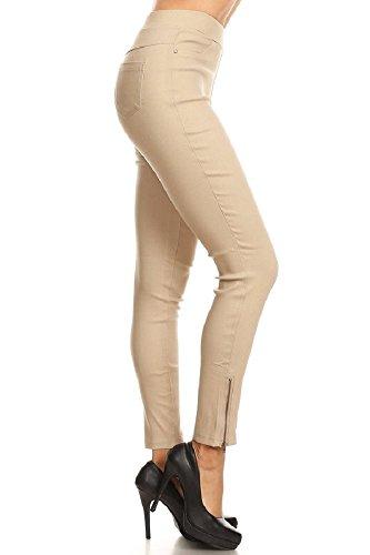Women's Skinny Strechy Pull-On Ankle Zip Jeggings Khaki Medium ()
