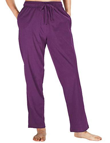 WEWINK CUKOO Womens Pajama Pants Cotton Sleep Pants Stretch Knit Lounge Pants with Pockets (S=US 4-6, Purple- Straight-Legged) ()