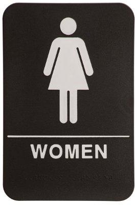 Women Restroom Sign Black/White - ADA