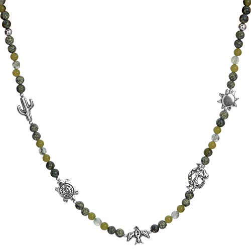 (American West Sterling Silver Green Garnet and Serpentine Gemstone and 5 Charm Beaded Necklace 17 Inch )