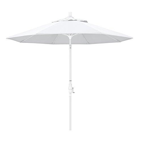 - California Umbrella 9' Round Aluminum Pole Fiberglass Rib Market Umbrella, Crank Lift, Collar Tilt, White Pole, White Olefin