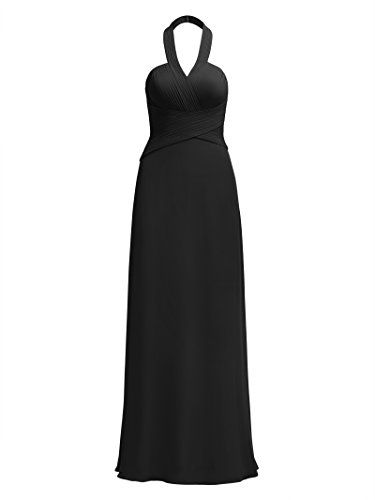 Formal Bridesmaid Evening Maxi Long for Halter Party Women Dress Alicepub Gowns Dresses Prom Black wF5xP0nZq