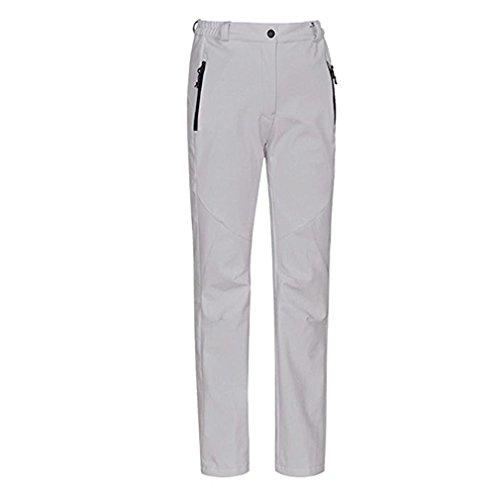 J-SUN-7 Women's Waterproof Mountain Pants Fleece Windproof Ski Pants(White,US - Ski Sun