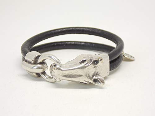 - Black Leather Bracelet with Equestrian Horse Clasp, Horse Lover Jewelry, Handcrafted Bracelet, Horse Head Bracelet, Boho Jewelry, Leather and Silver Bracelet
