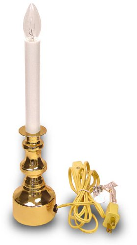 Welcome Light Electric Candle Lamp Has Bright Brass Color Base and On-Off Switch by National Artcraft