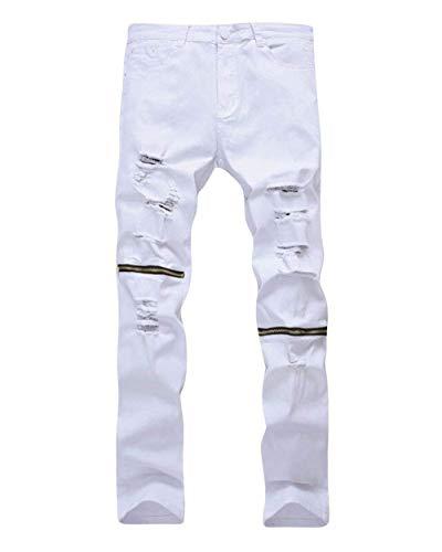 Libero color Abbigliamento Closure Size Jeans Vintage Da Uomo Per 37 Moda Strappati Bianca Tempo Alla Il Denim waist94cm Knee Pants Hat Skinny TqZfpwqF
