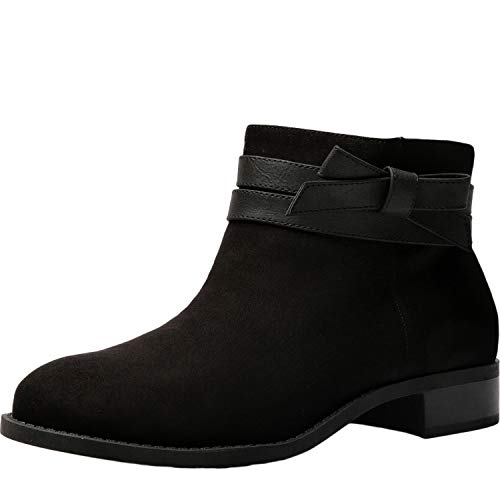 Luoika Women's Wide Width Ankle Boots - Low Stack Heel Zip up Bow Buckle Strap Casual Ankle Booties.(180609,Black,8WW) ()