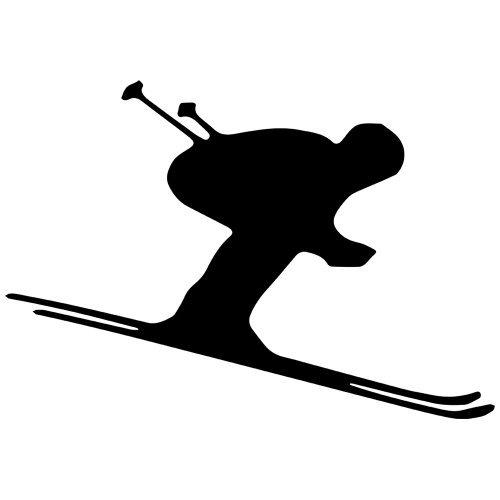 - Downhill Skier Decal Sticker (Black, Mirrored), Decal Sticker Vinyl Car Home Truck Window Laptop