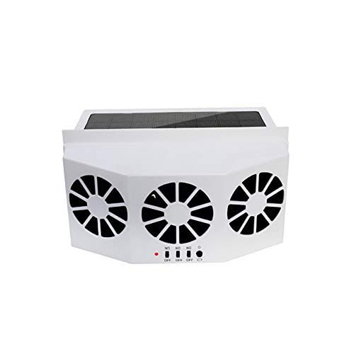 White Solar Powered Car Ventilation Radiator Auto Air Vent Cooling Fan System Cooler Window