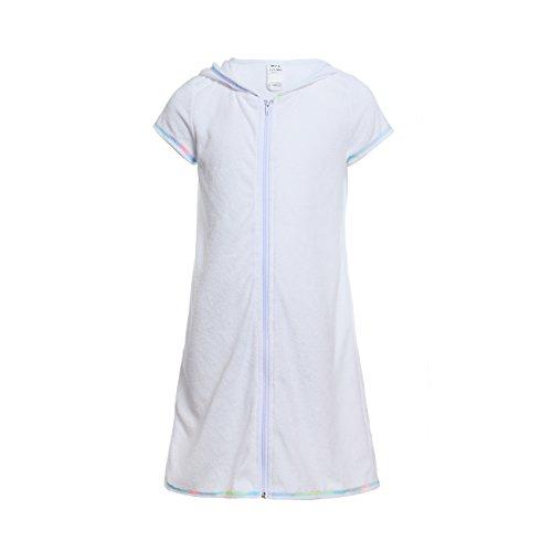 DAYU Girls Swimsuit Cover up Terry Hood Swim Robe Swimwear White