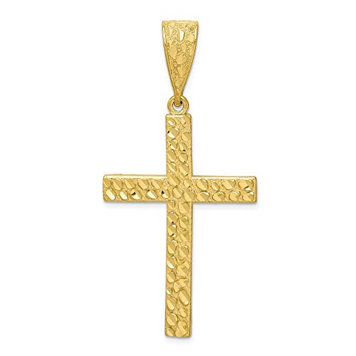 10k Yellow Gold Nugget Cross Religious Pendant Charm Necklace Fine Jewelry Gifts For Women For Her