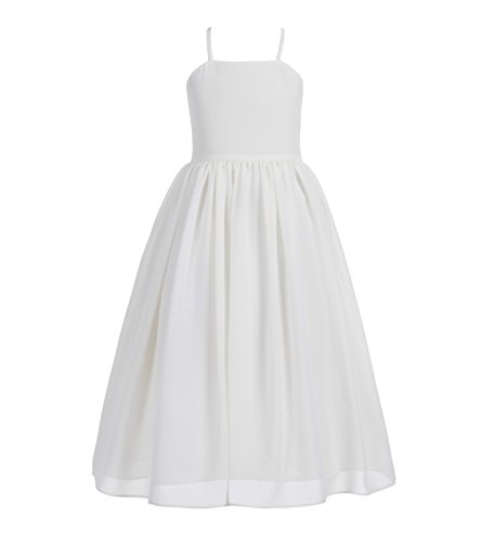 Criss Cross Chiffon Formal Flower Girl Dresses Junior Bridesmaid Dress 191 8 Ivory]()