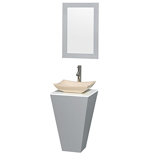Wyndham Collection Esprit 20 inch Pedestal Bathroom Vanity in Gray, White Man-Made Stone Countertop, Avalon Ivory Marble Sink, and 20 inch ()