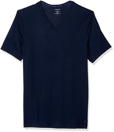 Calvin Klein Men's Ultra Soft Modal Short Sleeve V-Neck T-Shirt, Blue Shadow, XL