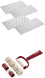 Cake Boss Decorating Tools 4-Piece Quilted Fondant Imprint Mat Set, Clear with Cake Boss Decorating Tools Plas