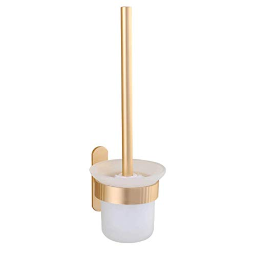 YXN Toilet Brush Holder Set Space Aluminum Long Handle Suction Cup Type Cleaning Brush Cylindrical Glass Brush Cup Rust-Proof Moisture-Proof Toilet Brush H35 cm (Color : Gold) by YXN