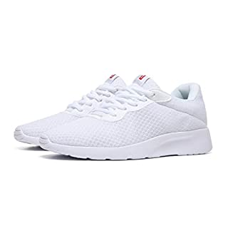 MAlITRIP Shoes Casual Sneakers Walking Jogging Athletic Sport Gym Workout Fitness Tennis Jog Shoes for Young Mens All White Size 7