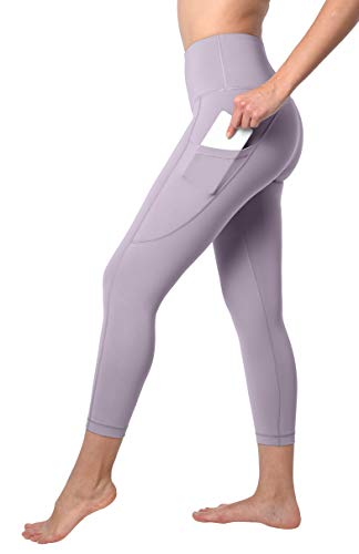 90 Degree By Reflex Squat Proof Side Phone Pocket Yoga Capris - High Waist Cropped Leggings - Iced Mauve - Medium