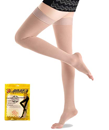 - Ailaka Open Toe Thigh High 20-30 mmHg Compression Stockings for Women and Men, Firm Support Graduated Varicose Veins Socks, Travel, Casual-Formal Hosiery (Beige, XX-Large)