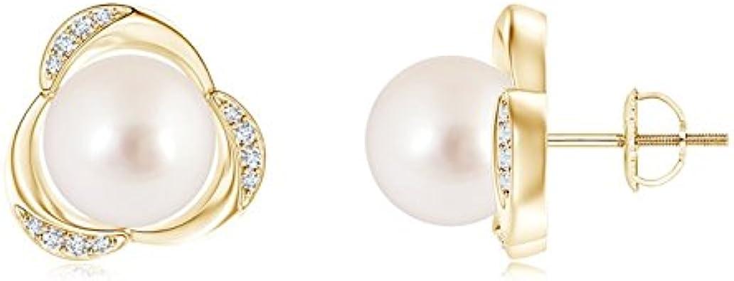 Tres pétalos perla cultivada del Mar del Sur pendientes de mujer con detalles en diamante