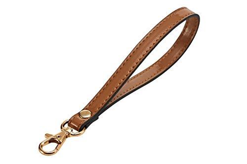 LIVEUP Wristlet Keychain Cellphone Genuine Leather Hand Strap with Lock Wrist Hand Strap Gold Swivel Trigger (Cracker Khaki)