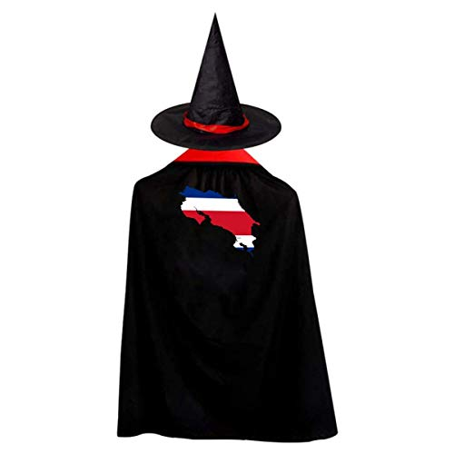 Costa Rica Continent Shape Flag Witch Wizard Cloak Cape With Hat Halloween Costumes For Girls Boys]()