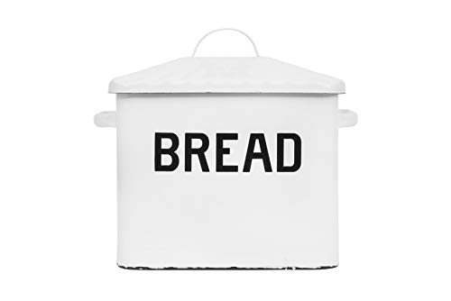 (Creative Co-op Enameled Metal Distressed White Bread Box with)
