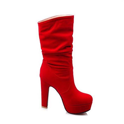 AllhqFashion Mujeres Puntera Redonda Caña Baja Tacón Alto Sólido Botas Rojo