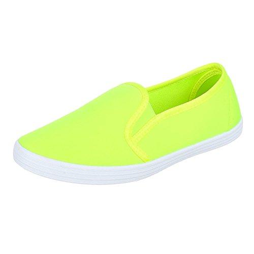 Ital-Design - Mocasines de Material Sintético para mujer Amarillo - amarillo neón