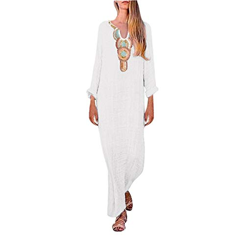 (Womens Dresses Summer Casual Embroidery Floral Pattern Short Sleeve Midi Split V-Neck Party Maxi Dress)