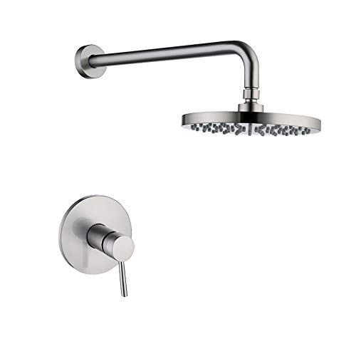 KES Pressure Balance Shower Valve and Trim Kit Combo Concealed Brass Shower Faucet Body with Faceplate Rainfall Shower Head and Supply Arm Single Handle Modern Round Brushed Nickel, XB6202-2 (Faucet Kit Supply)