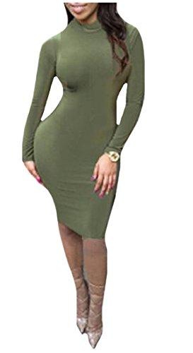 Coolred Ginocchio Backless Aderente Scavano Womens Lunghezza Verde Al Fuori Vestito Magro 1dxTOxqwtR