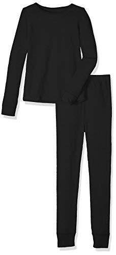 Fruit of the Loom Girls' Big Waffle Thermal Underwear Set, Black, 10/12