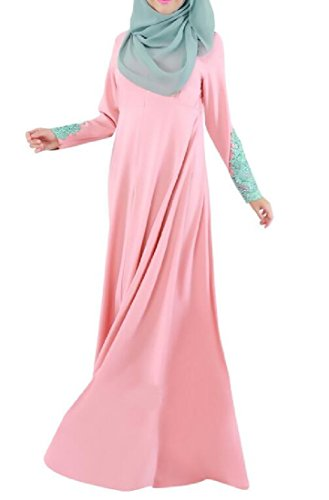 Coolred Lace Lacework Pink Muslim Middle East Women Dresses Abaya F1FqwxrET