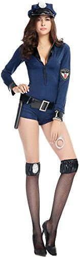 Police Woman Costume Jumpsuit (Fedo Design Long Sleeved Blue Jumpsuits Policewoman Role Play Costume Set)