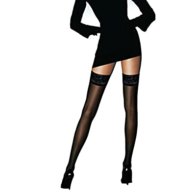 Sheer Thigh highs stockings Silicon Stay Up 2 Pair DancMolly Lace Tights for Women at Women's Clothing store