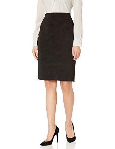 NINE WEST Women's Stripe Knit Slim Skirt, Black, S
