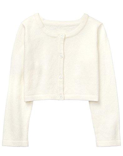 Gymboree Baby Girls Long Sleeve Crop Cardigan, Ivory, 5T