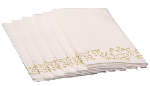 Simulinen Decorative Linen-Feel Bathroom Hand Towels - GOLD Floral Disposable Paper Towels for Guests - Box of 100 - Perfect Size: 12x17 inches unfolded & 8.5x4 inches -