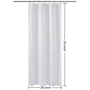 Nu0026Y HOME Fabric Shower Curtain Liner White   36 X 72 Inch Bath Stall Size,  Hotel Quality, Mildew Resistant, Washable, Water Repellent, Spa, ...