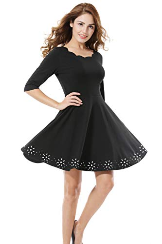 Apperloth Women's Scallops Neck Dresses Half Sleeve Pullover Elastic Waist Hollow Out Floral Decor Casual Skater Dress (Hollow Out Pullover)