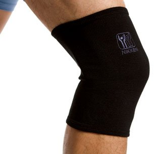 Nikken 1 Large Knee Sleeve 1834 - Black, Thin Stretchy Support, Men Women, Far Infrared, Compression, Brace, Arthritis ACL Meniscus Pain Relief & Recovery, Running Weightlifting ()