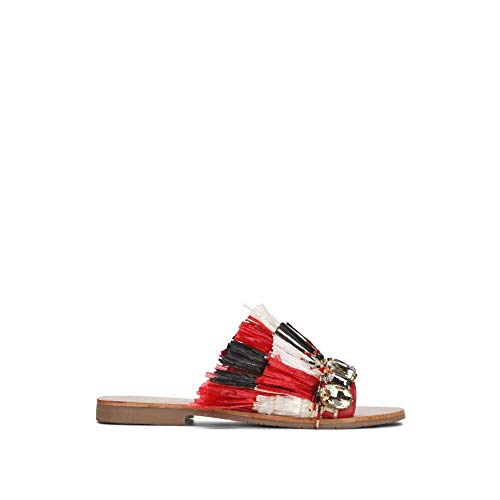 - Kenneth Cole New York Women's Heron Slide Sandal with Fringe and Jewels, Beige/Multi 7 M US